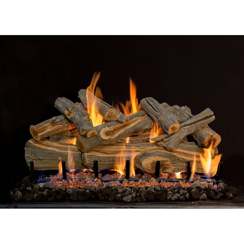 Grand Canyon 42-Inch Arizona Weathered Oak Vented Propane Gas Log Set W/ 2BRN Burner Basic On/Off Remote