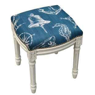 Nautical Linen Upholstered Vanity Stool with Nailhead