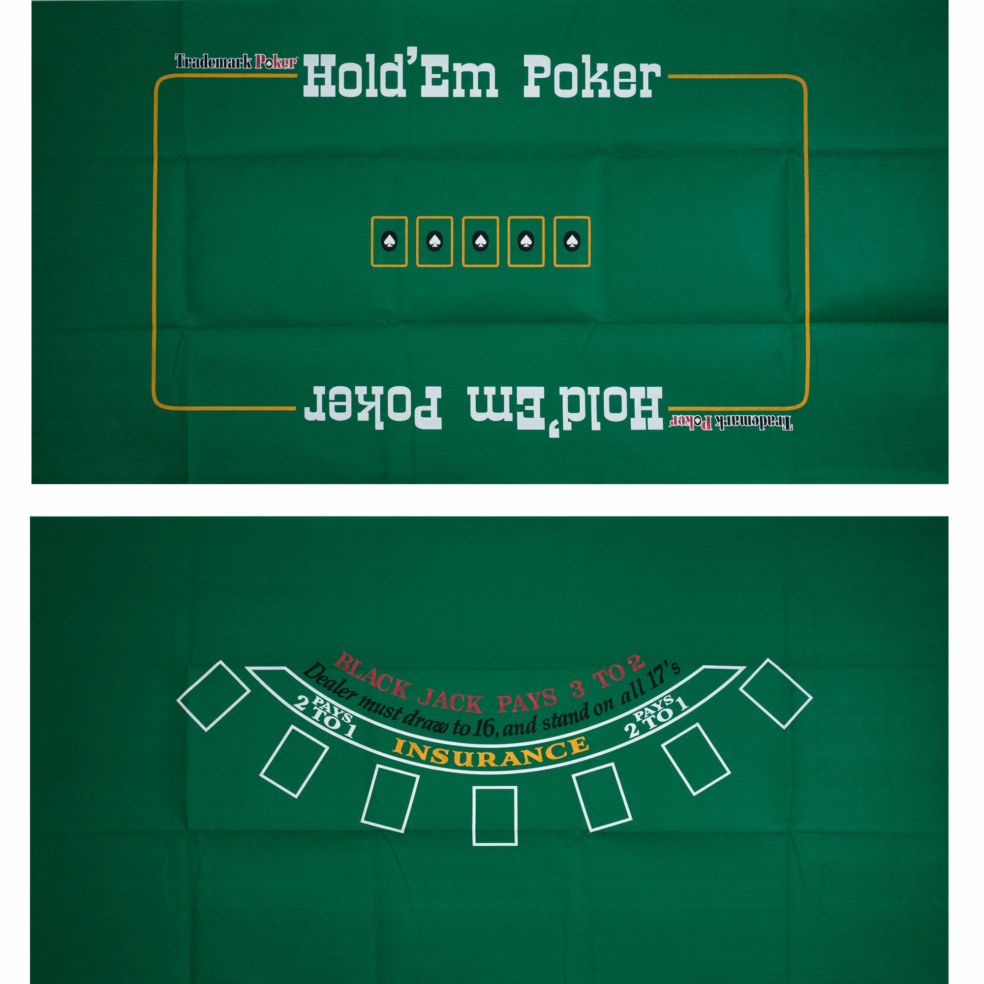 Trademark Global Blackjack And Texas Hold Em Two Sided Layout Wayfair