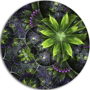 Designart Glittering Curvy Stylish Fractal Flower Graphic Art Print On Metal Wayfair