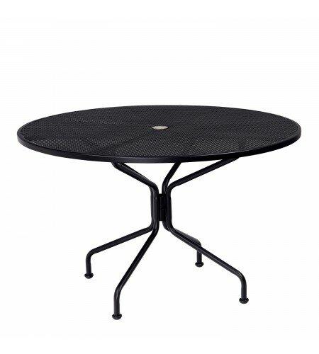 Premium Mesh Top Round Umbrella Iron Dining Table