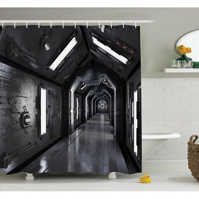 Ambesonne Outer Space Dark Futuristic Corridor Of Spaceship