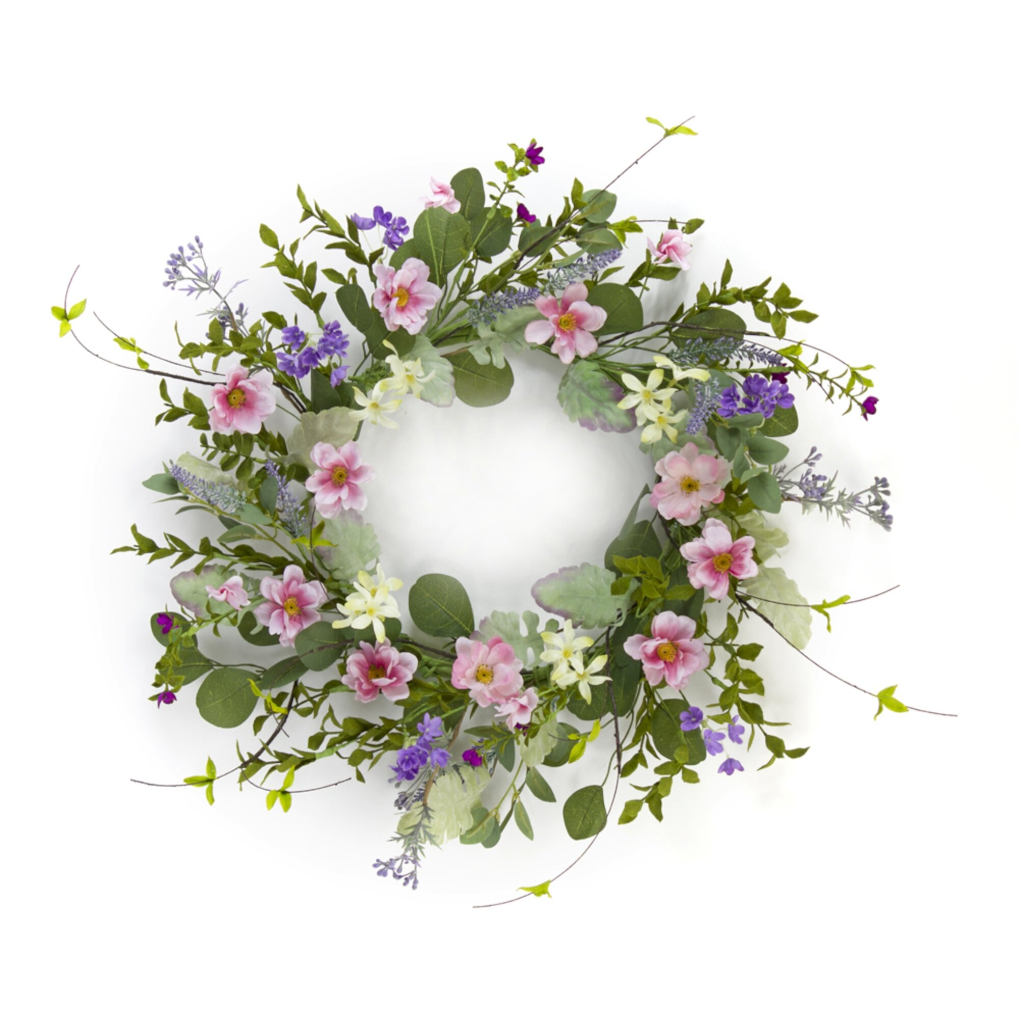 Primrue Mixed Floral 18 Polyester Wreath Wayfair