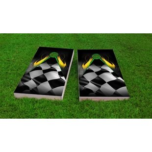 Custom Cornhole Boards Flaming Checkered Flag Cornhole Game Set