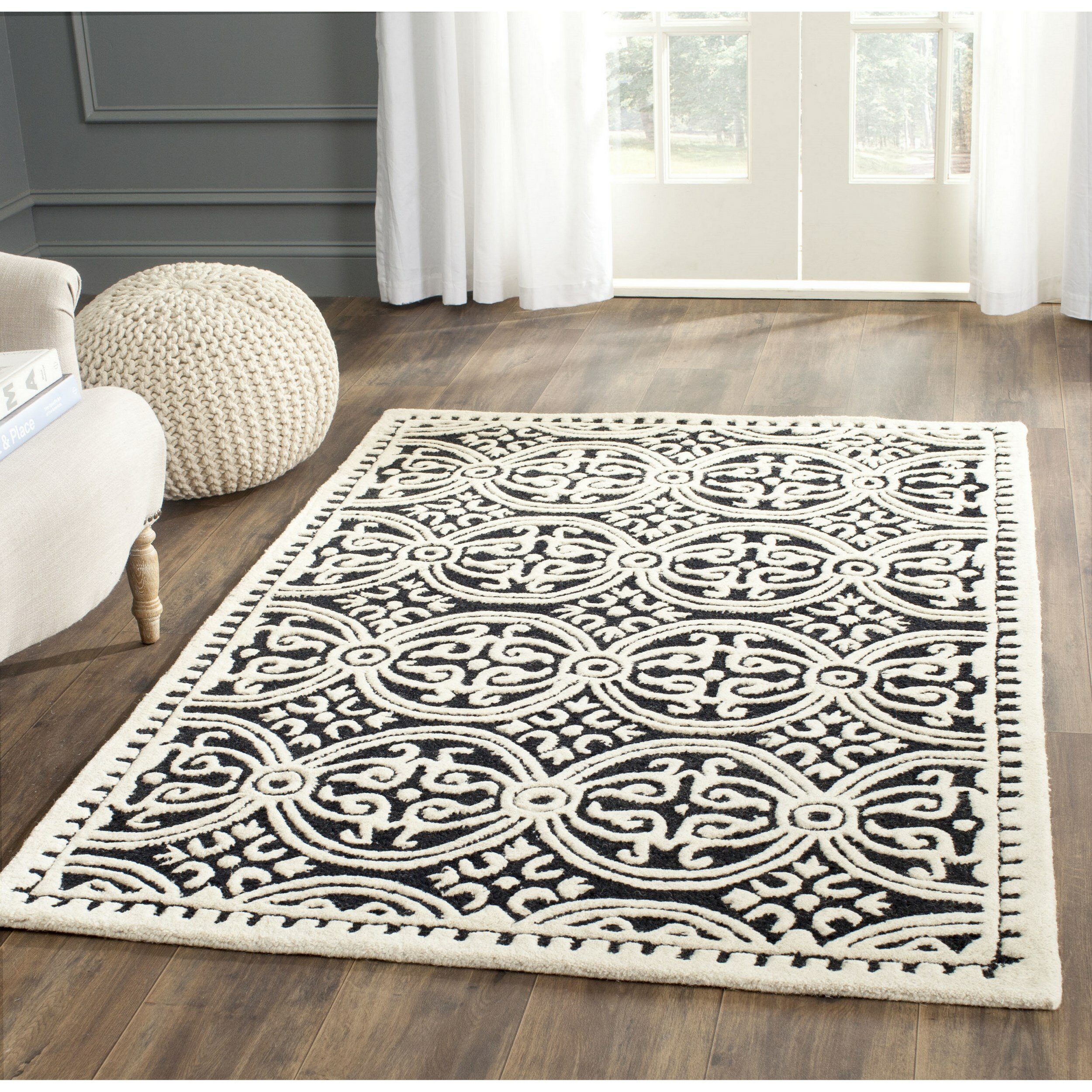 jwwl braided jute area dining home x amazon com ihf decor star kitchen material dp fabric rectangle design black rugs rug inch