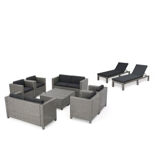 Wade Logan Ballew Outdoor 10 Piece Rattan Sofa Set with Cushions
