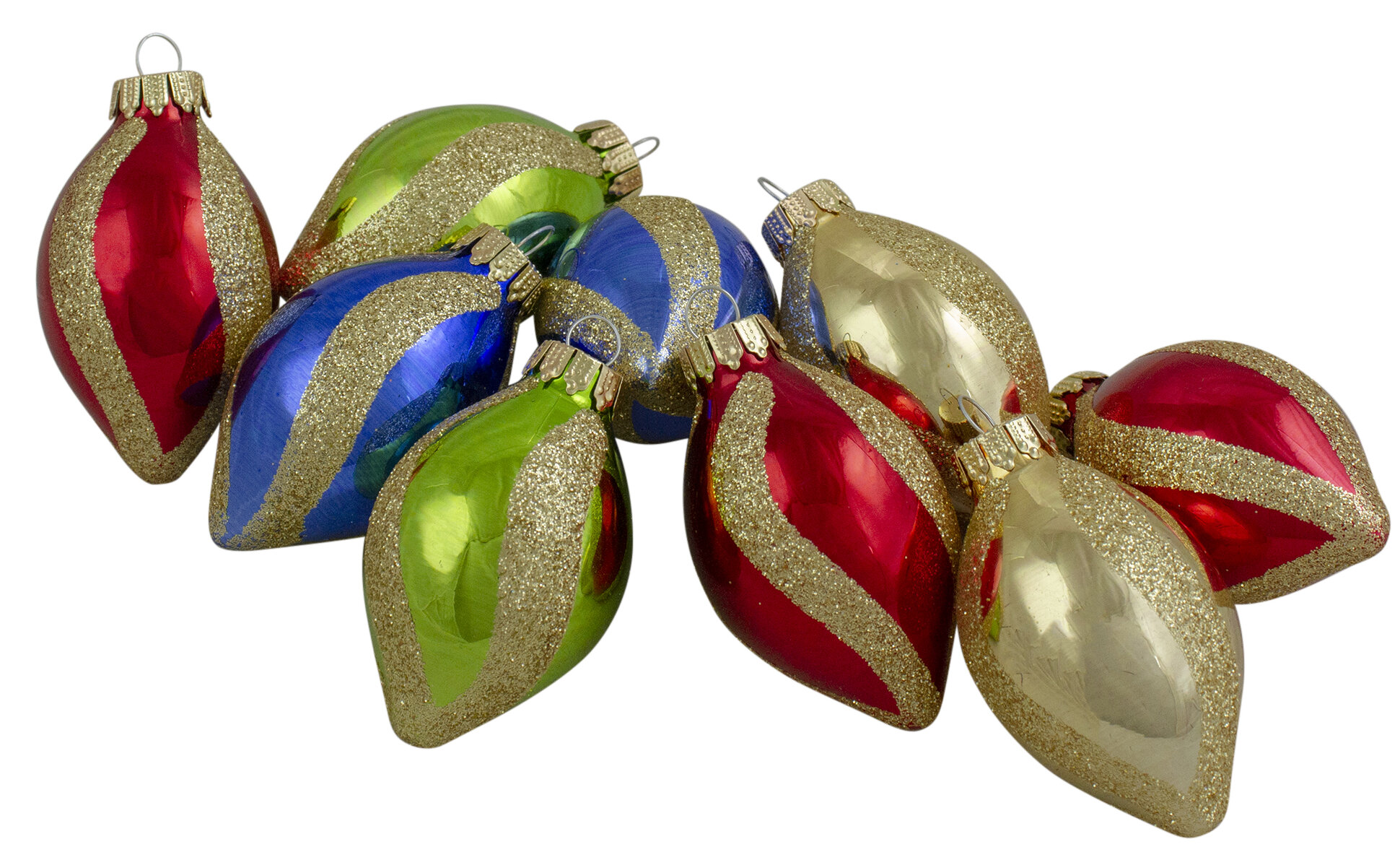 200Ct Multi Color With Glitter Swirls Finial Glass Christmas Ornament Set 20