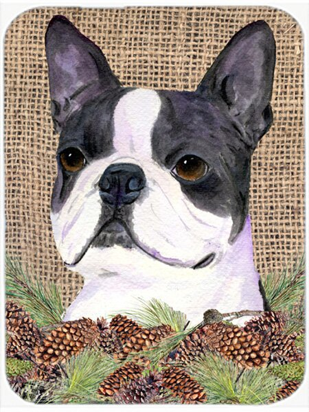 East Urban Home Boston Terrier And Pine Cone Glass Cutting Board Wayfair