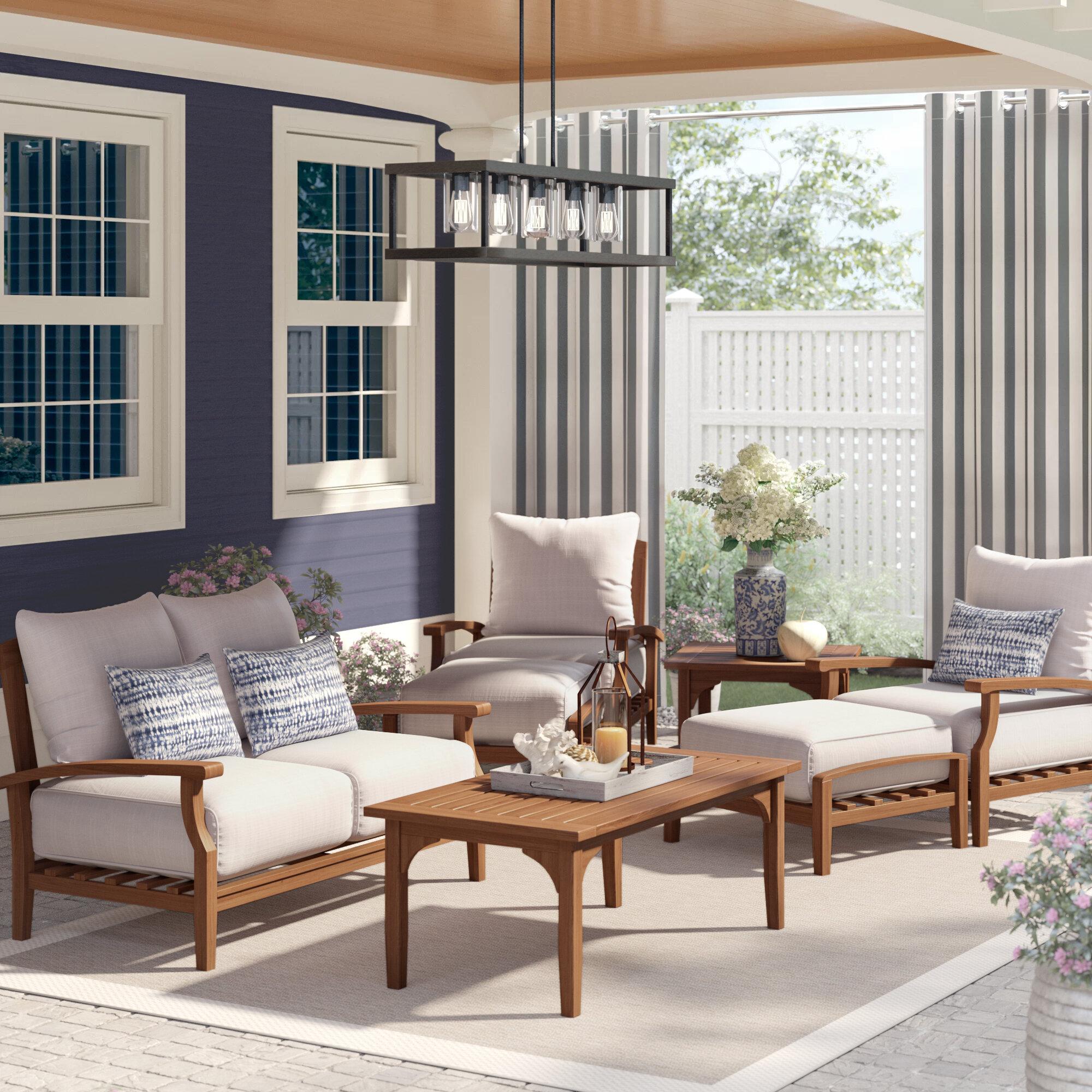 Birch Lane Summerton 7 Piece Teak Sofa Seating Group With Cushions Reviews Wayfair