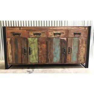 Valeria Old Reclaimed Wood and Iron 4 Door 4 Drawer Sideboard by Breakwater Bay