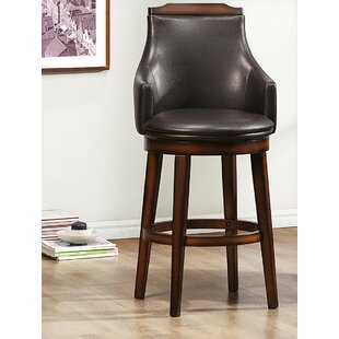 Putnam Wood/Leather 29 Swivel Bar Stool (Set of 2) by Loon Peak