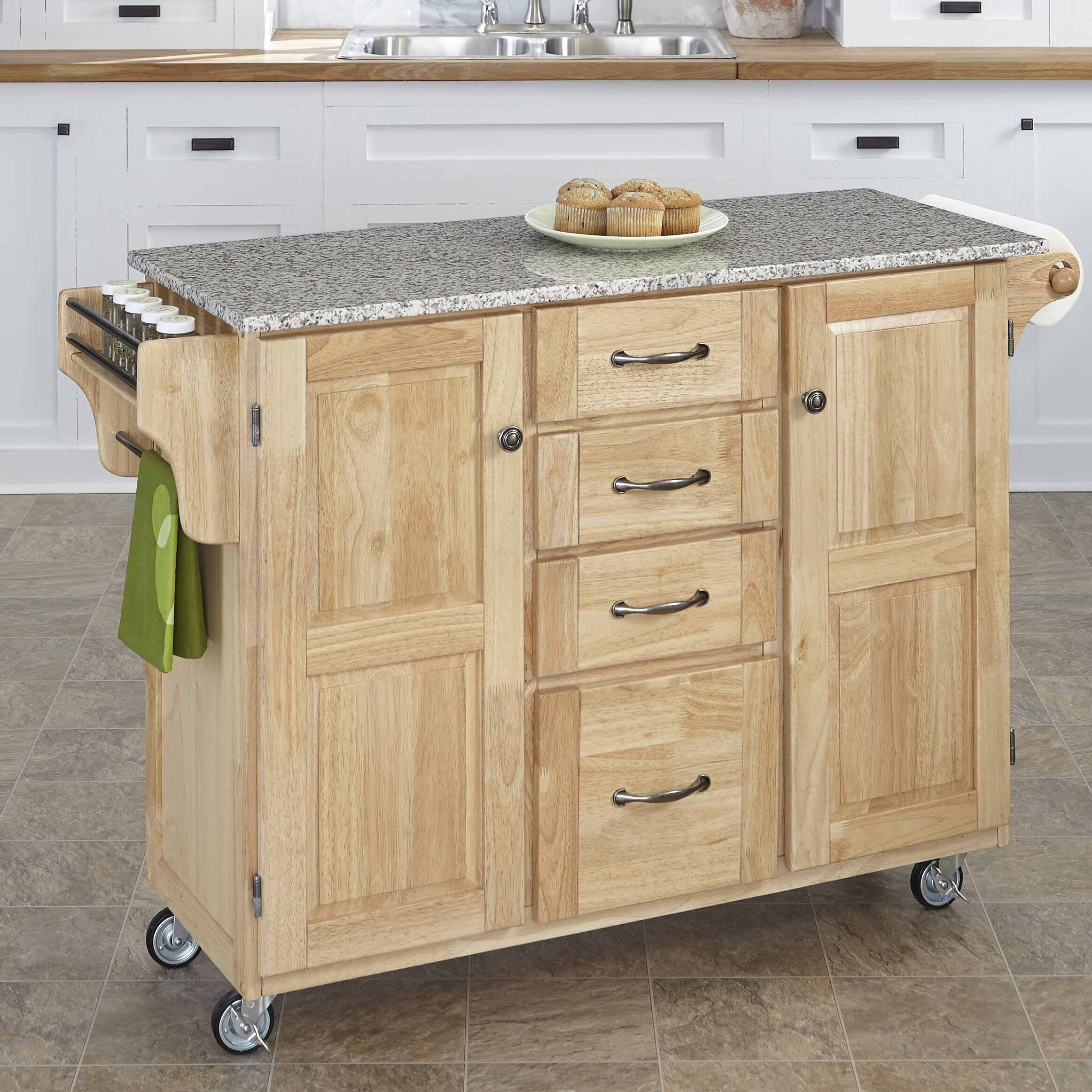 Millwood Pines Legler A Cart Kitchen Island With Granite Top Reviews