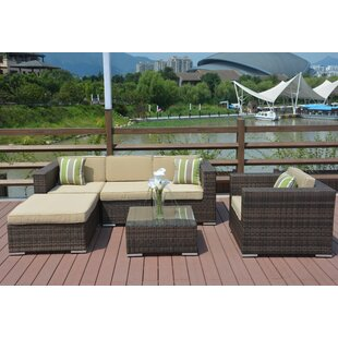 Direct Wicker Jasmine 6 Piece Sectional Set with Cushions
