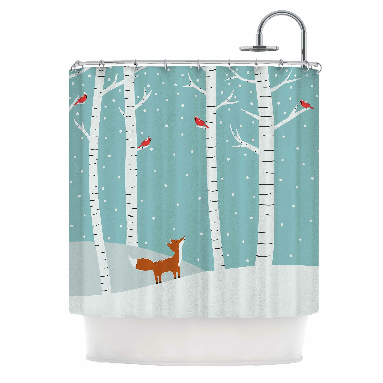 East Urban Home Cristina Bianco Fox Cardinals Winter Kid Shower Curtain