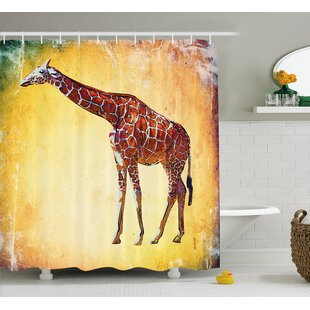 Koge Giraffe Vintage Style Illustration Watercolor African Animal Wildlife Safari Zoo Retro Artwork Single Shower Curtain