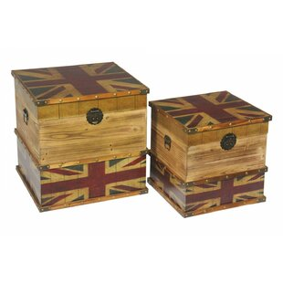 Wendover Union Jack 2 Piece Trunk Set By Williston Forge