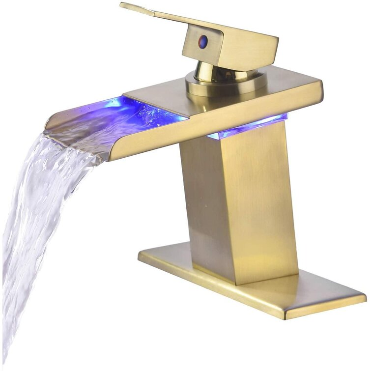 Qizhongtrade Bathroom Sink Faucet Led 3 Colors Changing Waterfall Spout Brushed Nickel Single Handle One Hole Basin Modern Lavatory Faucet Commercial Tap Deck Mount Wayfair