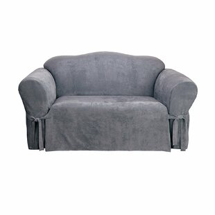 Soft Suede Box Cushion Loveseat Slipcover