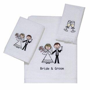 Inexpensive Bride and Groom 3 Piece 100% Cotton Towel Set ByAvanti Linens