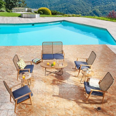 Bayou Breezeharney 8 Piece Rattan Sofa Seating Group With Cushions Bayou Breeze Cushion Color Blue Dailymail