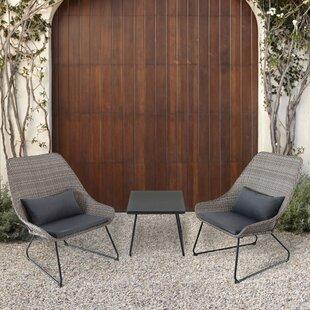 Wrought Studio Balentine 3 Piece Conversation Set with Cushions