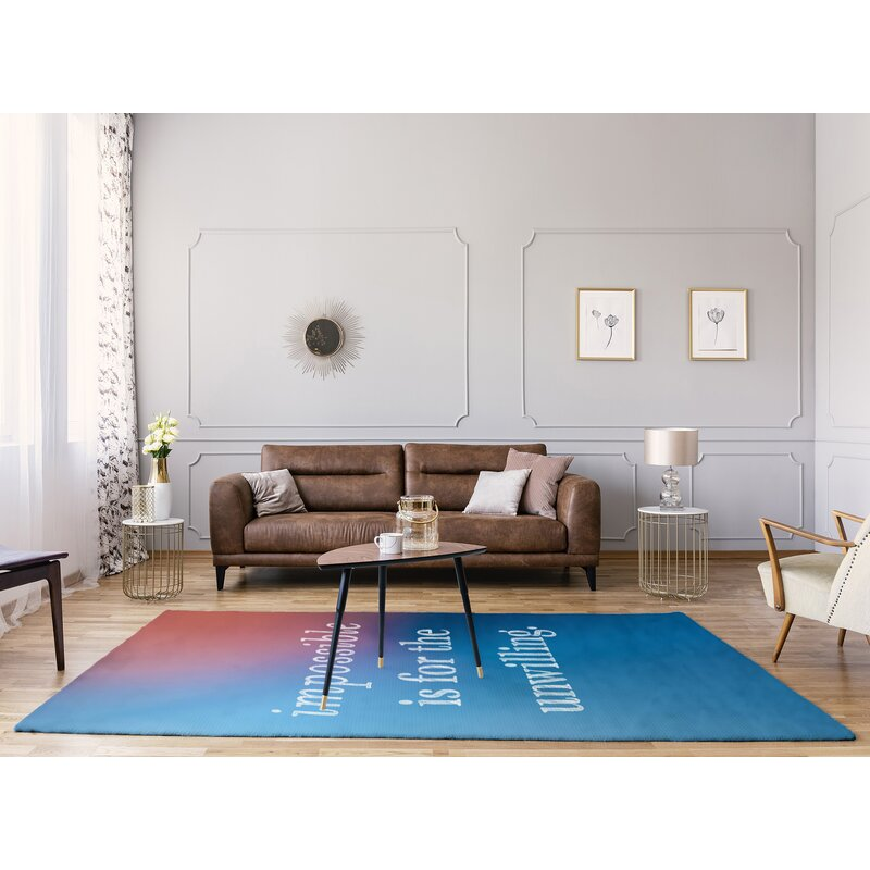 East Urban Home Multicolor Background Impossible Quote Poly Chenille Rug Wayfair
