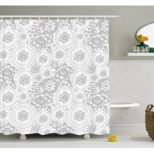 Medieval Slavic Monochrome Rose Petals Florets Ethnic Fragrance Artwork Shower Curtain Set