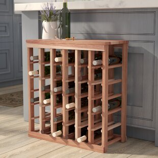 Red Barrel Studio Karnes Redwood Table Top 36 Bottle Floor Wine Rack