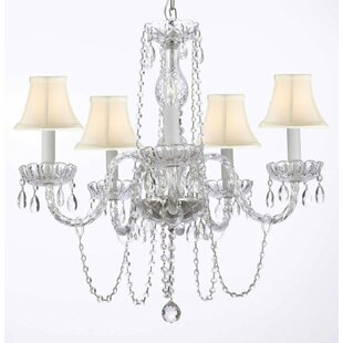 Bowerville 5-Light Beige Shaded Chandelier by Rosdorf Park