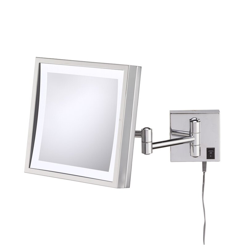 Wrought Studio Huckstep Single Sided Square 3x Magnification LED Wall Mirror