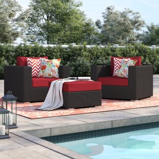 Brentwood 3 Piece Rattan Conversation Set with Cushions