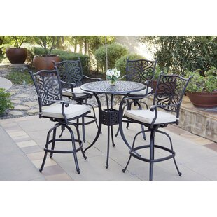 Burien Swivel Patio Bar Stool with Cushion (Set of 4) by Canora Grey