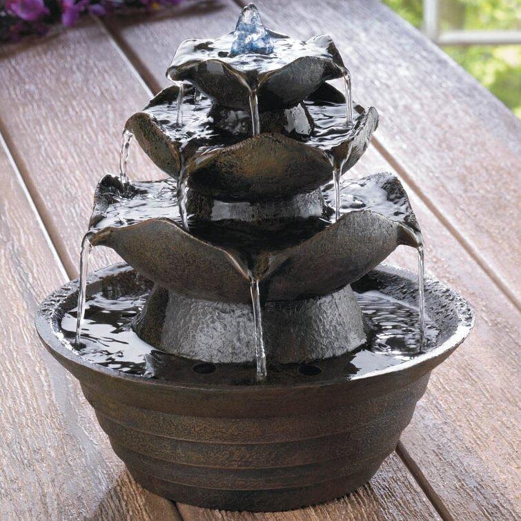 Good Fiberglass Lotus Tabletop Water Fountain