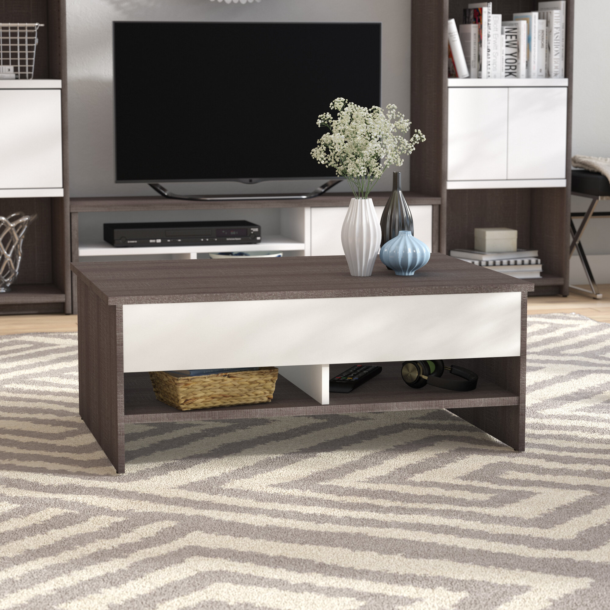 Latitude Run Frederick Lift Top Sled Coffee Table With Storage Reviews Wayfair