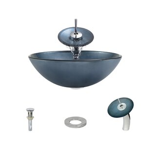 MR Direct Hand-Painted Glass Circular Vessel Bathroom Sink with Faucet