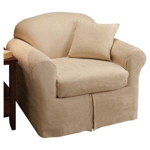 Microsuede Box Cushion Armchair Slipcover