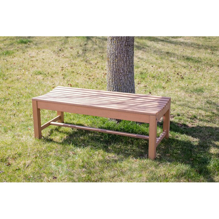 Enjoyable Bernard Composite Wood Outdoor Backless Picnic Bench Dailytribune Chair Design For Home Dailytribuneorg