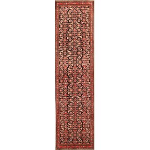 Best Reviews One-of-a-Kind Naumann Floral Hamedan Persian Vintage Hand-Knotted Runner 3'6 x 13'1 Wool Black/Beige/Red Area Rug By Isabelline