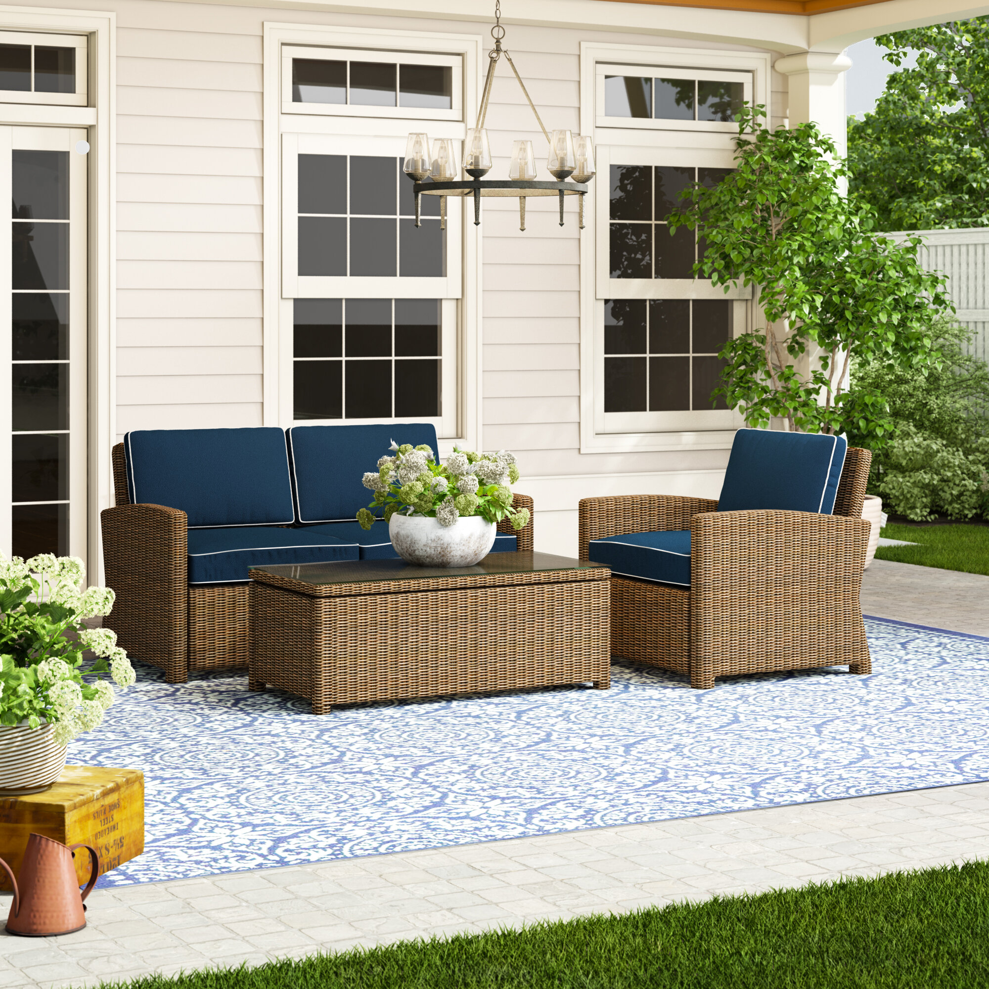 Lawson 4 Piece Rattan Sofa Seating Group With Cushions Reviews Birch Lane