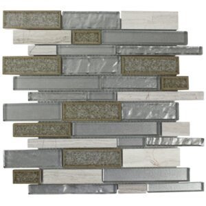 Charisma Linear Glass Stone Blend Mosaic Tile in Mist