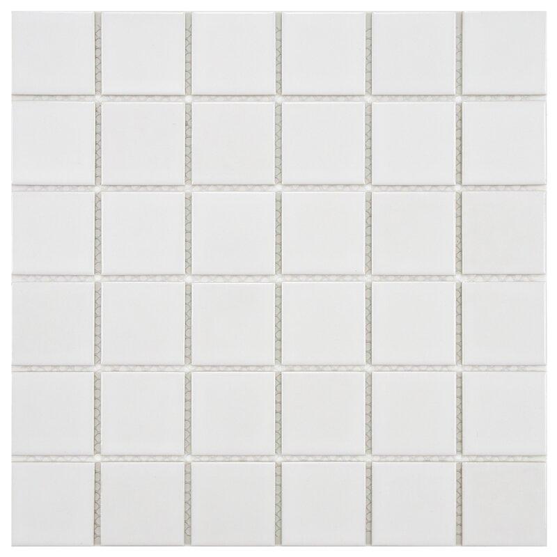 Arctic 2 X Porcelain Mosaic Tile In White