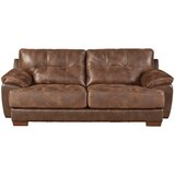 Hoppe 97 Wide Faux Leather Pillow Top Arm Sofa by Loon Peak®