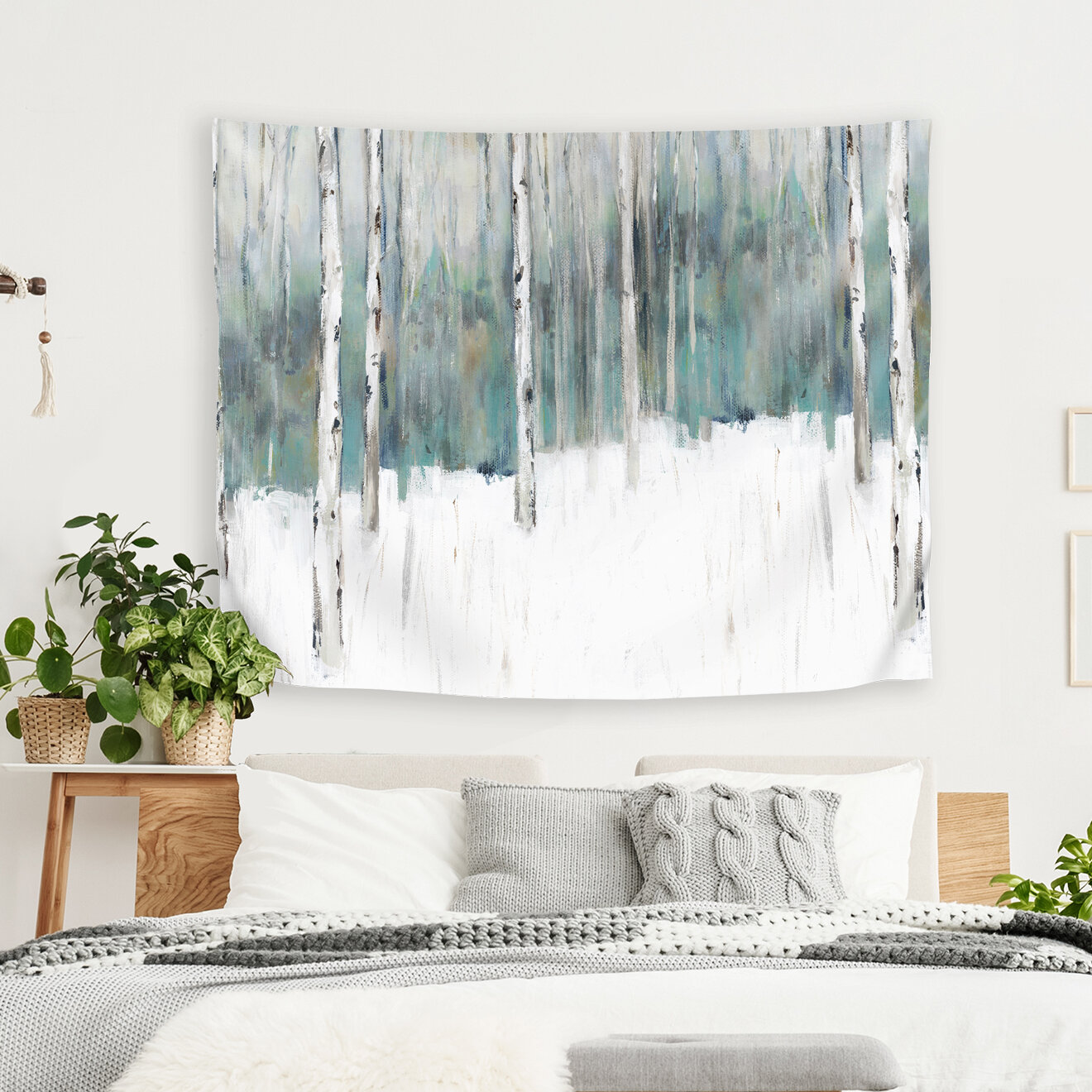 East Urban Home Pi Creative Art Winters Trail I Tapestry Wayfair