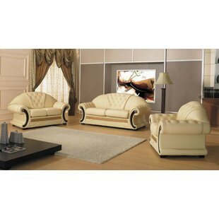 Bloomsbury Market Crase Traditional 3 Piece Leather Living Room Set