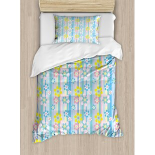 East Urban Home Abstract Spring Season Themed Cute Graphic Daisies on Vertical Stripes Soft Modern Duvet Set