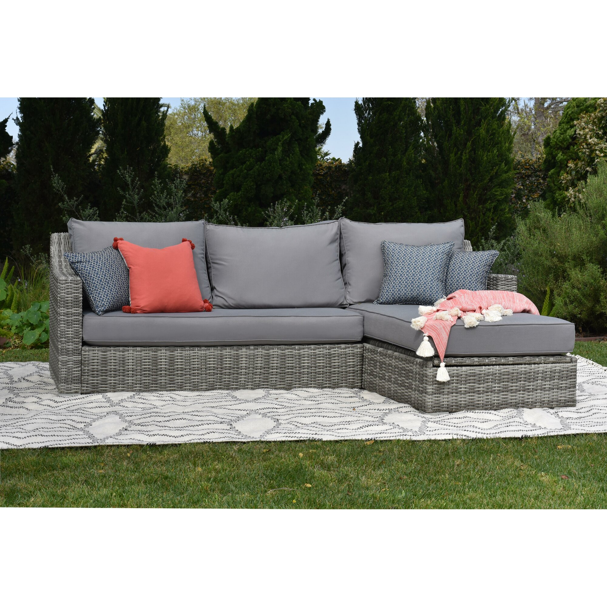 Elle Decor Vallauris Storage Sectional with Cushions & Reviews