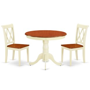 Kuykendall 3 Piece Solid Wood Breakfast Nook Dining Set