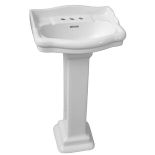 Barclay Stanford 660 Vitreous China Rectangular Pedestal Bathroom Sink with Overflow