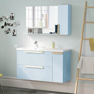 Deals Iniguez Modern 40 Wall-Mounted Single Bathroom Vanity Set with Mirror By Orren Ellis