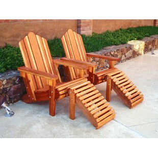 Rosecliff Heights Acklins Wood Adirondack Chair with Ottoman